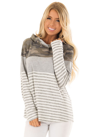 Heather Grey Stripe and Camouflage Hoodie front close up