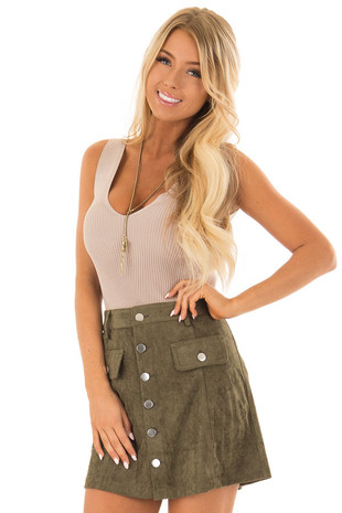 Olive Faux Suede Button Down Mini Skirt front close up