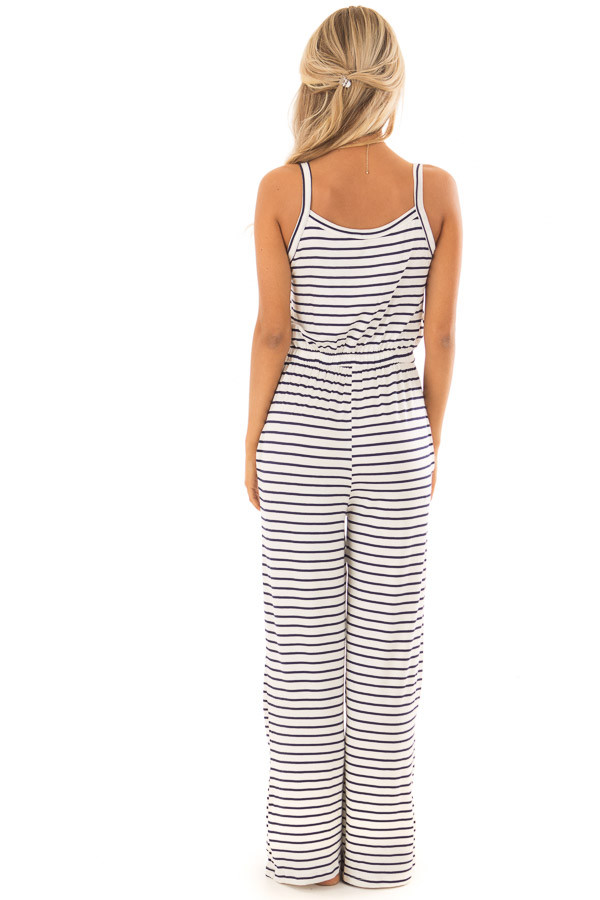 Ivory and Navy Sleeveless Jumpsuit with Waist Tie back full body