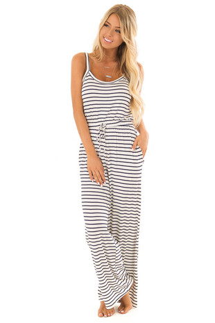 Ivory and Navy Sleeveless Jumpsuit with Waist Tie front full body