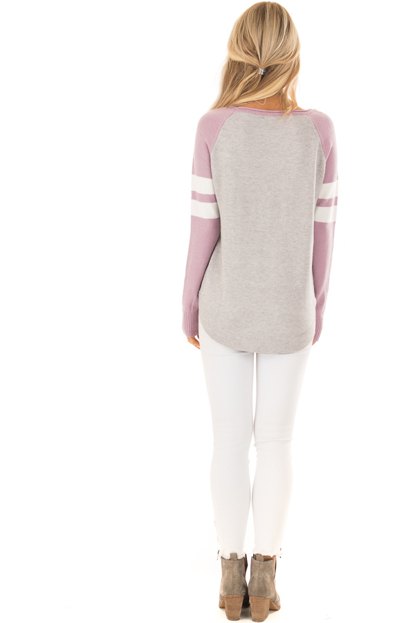 Heather Grey Long Raglan Sleeve Color Block Sweater Top back full body