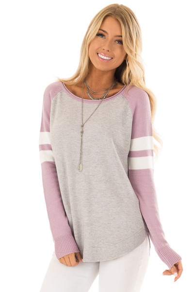 Heather Grey Long Raglan Sleeve Color Block Sweater Top front close up