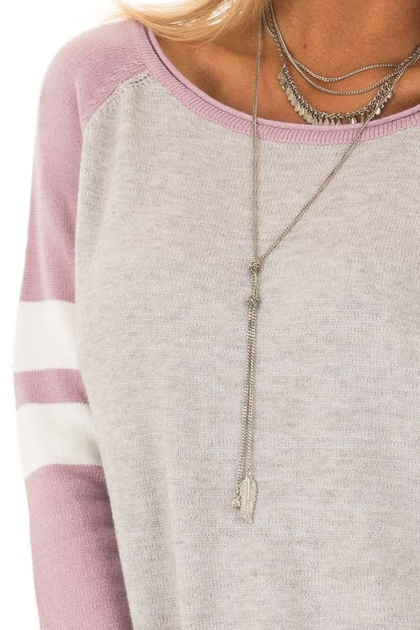 Heather Grey Long Raglan Sleeve Color Block Sweater Top detail