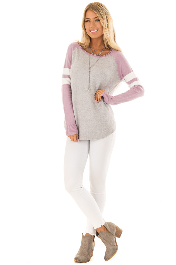 Heather Grey Long Raglan Sleeve Color Block Sweater Top front full body