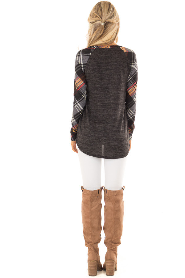 Charcoal and Plaid Raglan Top with Plaid Chest Pocket back full body
