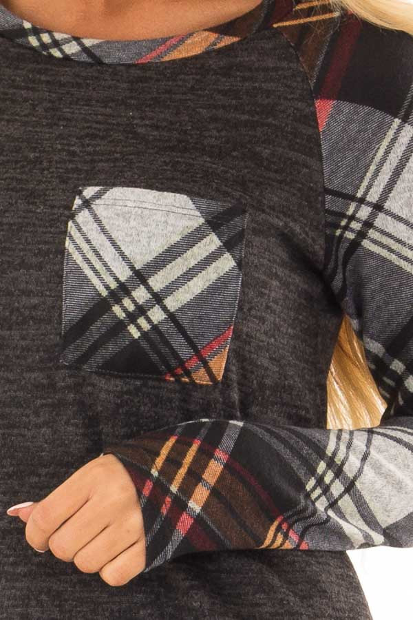 Charcoal and Plaid Raglan Top with Plaid Chest Pocket detail