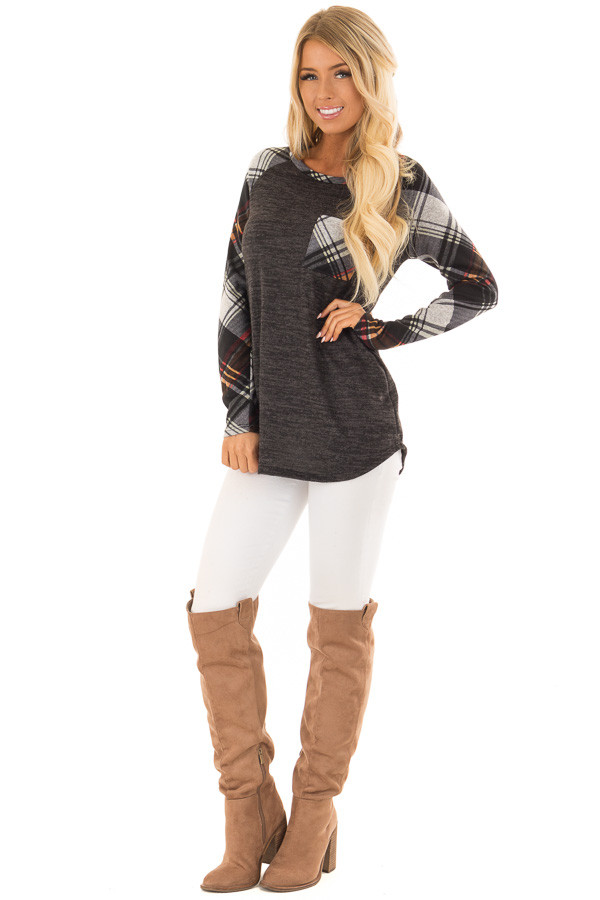 Charcoal and Plaid Raglan Top with Plaid Chest Pocket front full body