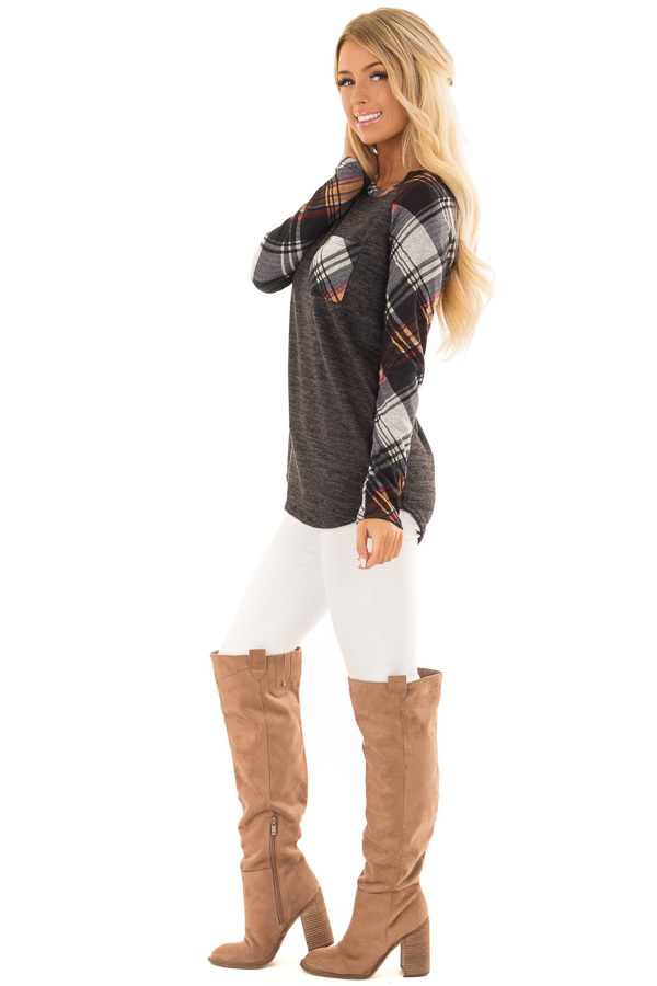 Charcoal and Plaid Raglan Top with Plaid Chest Pocket side full body