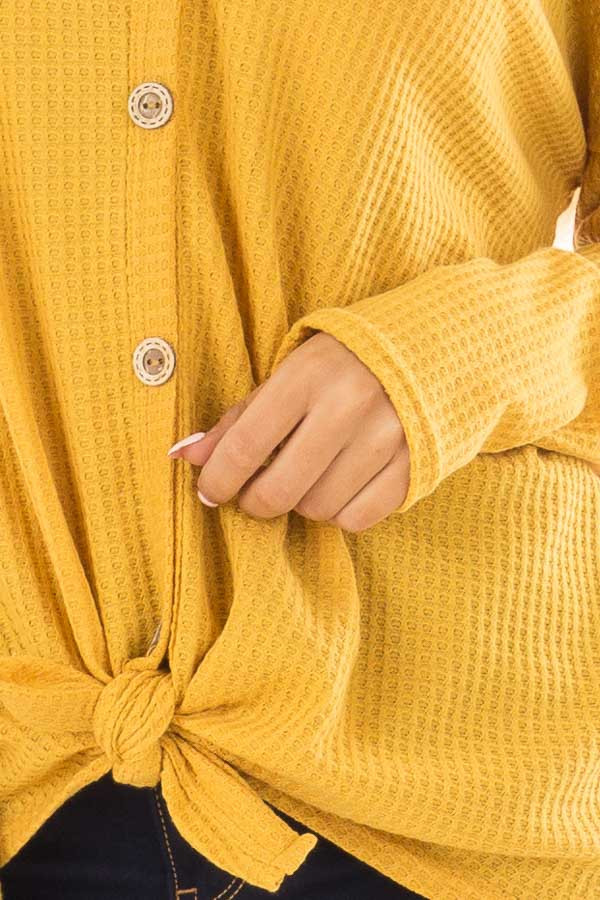 Mustard Thermal Button Up Long Sleeve Top with Front Tie detail