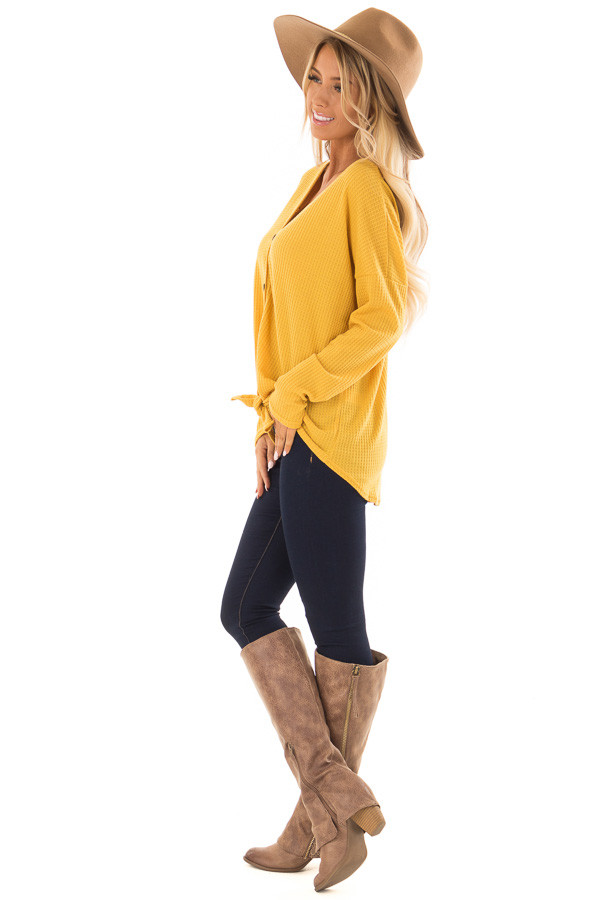 Mustard Thermal Button Up Long Sleeve Top with Front Tie side full body