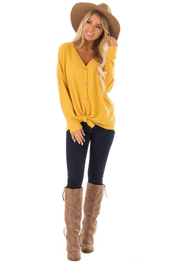 Mustard Thermal Button Up Long Sleeve Top with Front Tie front full body