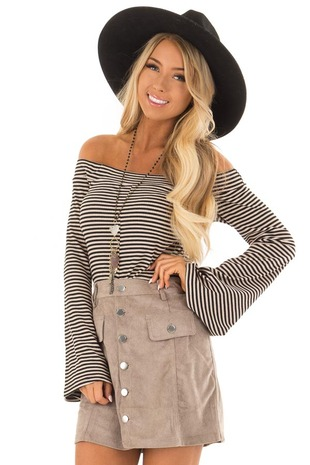 Black Striped Off the Shoulder Top with Long Bell Sleeves front close up