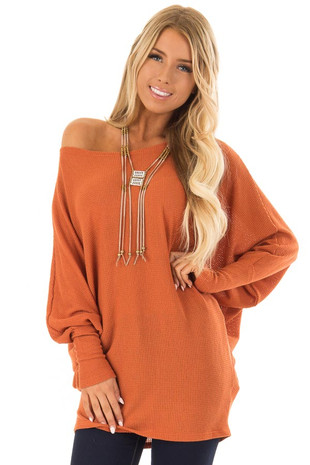 Rust Oversized Off the Shoulder Top with Long Sleeves front close up