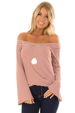 Rust Striped Off the Shoulder Top with Long Bell Sleeves front close up