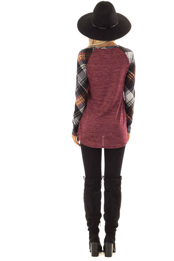 Burgundy and Plaid Raglan Top with Plaid Chest Pocket back full body
