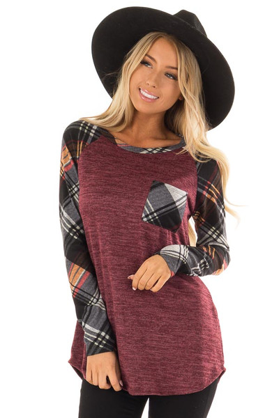 Burgundy and Plaid Raglan Top with Plaid Chest Pocket front close up