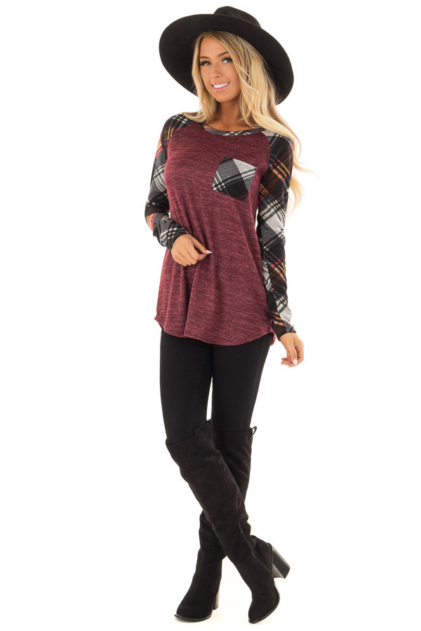 Burgundy and Plaid Raglan Top with Plaid Chest Pocket front full body