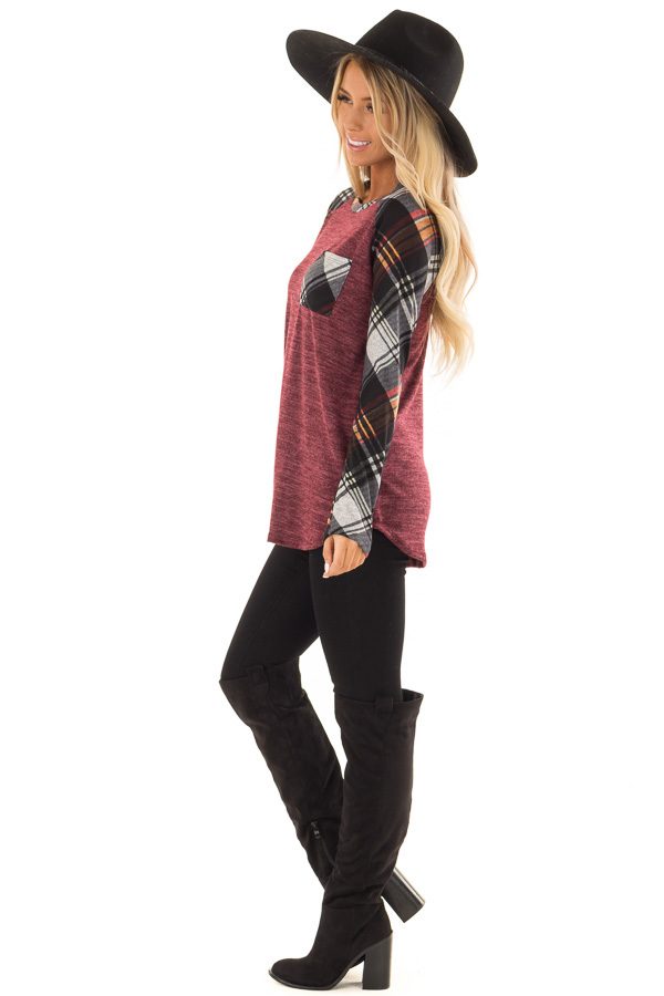 Burgundy and Plaid Raglan Top with Plaid Chest Pocket side full body