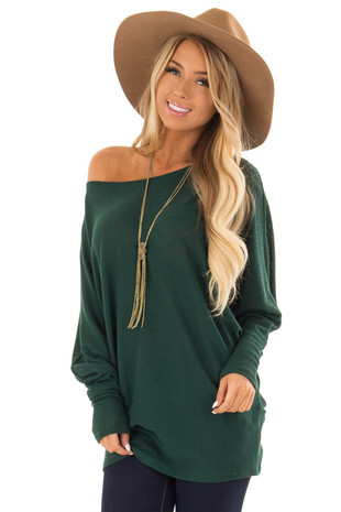 Pine Green Oversized Off the Shoulder Top with Long Sleeves front close up