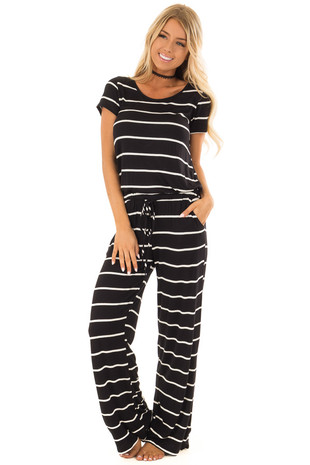Black and Cream Striped Jumpsuit with Drawstring Waist front full body