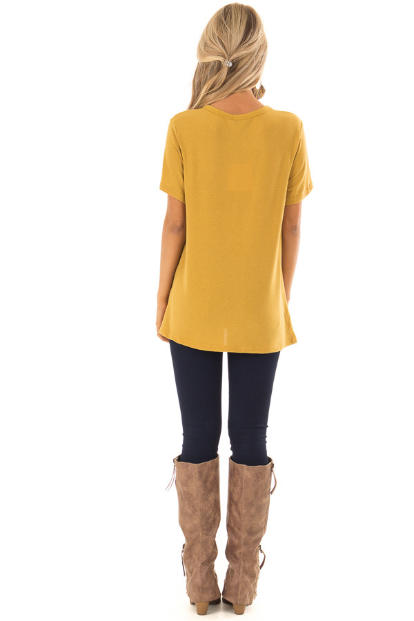 Mustard Short Sleeve Top with Twist Detail back full body