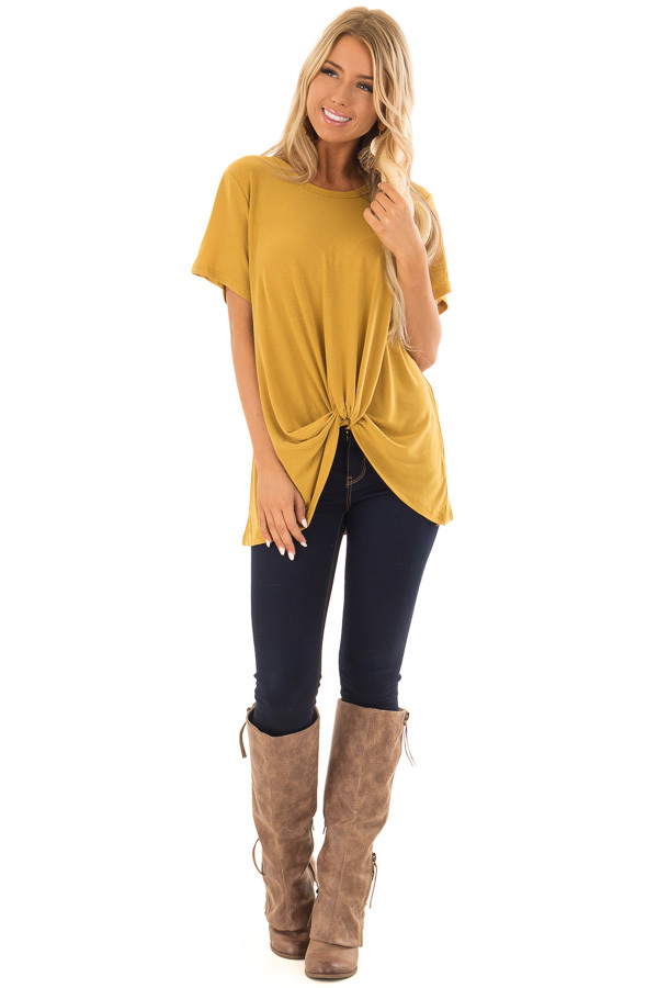 Mustard Short Sleeve Top with Twist Detail front full body