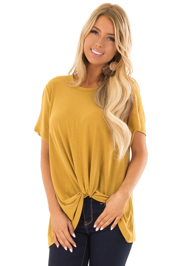 Mustard Short Sleeve Top with Twist Detail front close up