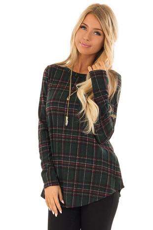 Forest Green and Burgundy Plaid Top with Chest Pocket front close up