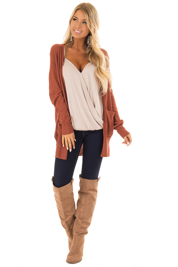 Brick Long Sleeve Cardigan with Side Pockets front full body