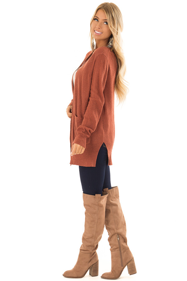 Brick Long Sleeve Cardigan with Side Pockets side full body