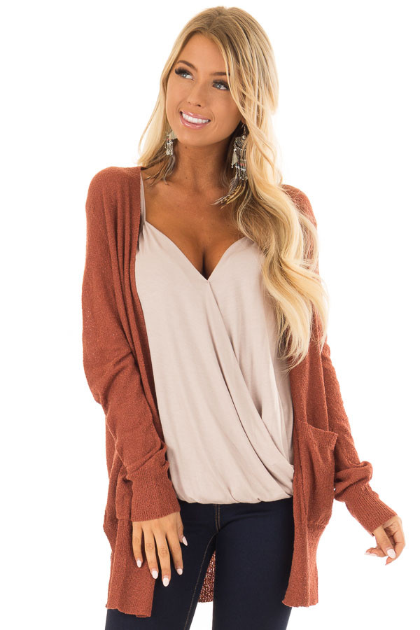 Brick Long Sleeve Cardigan with Side Pockets front close up