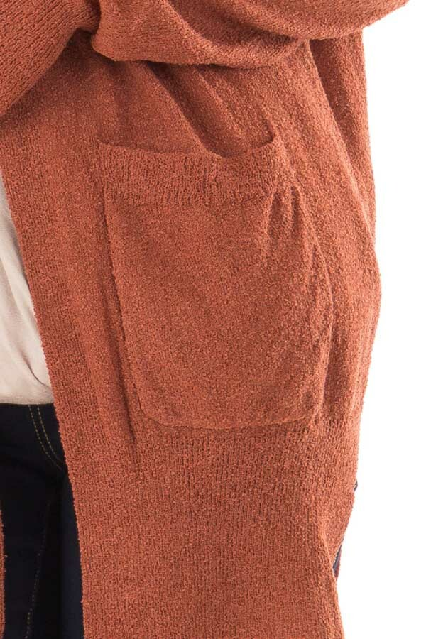Brick Long Sleeve Cardigan with Side Pockets detail