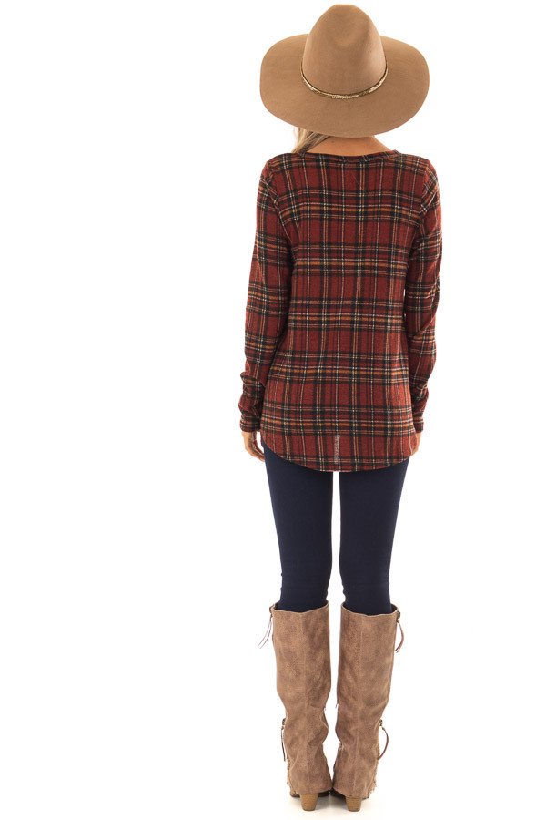 Burgundy and Marigold Plaid Top with Chest Pocket back full body
