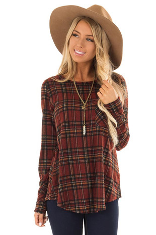 Burgundy and Marigold Plaid Top with Chest Pocket front close up