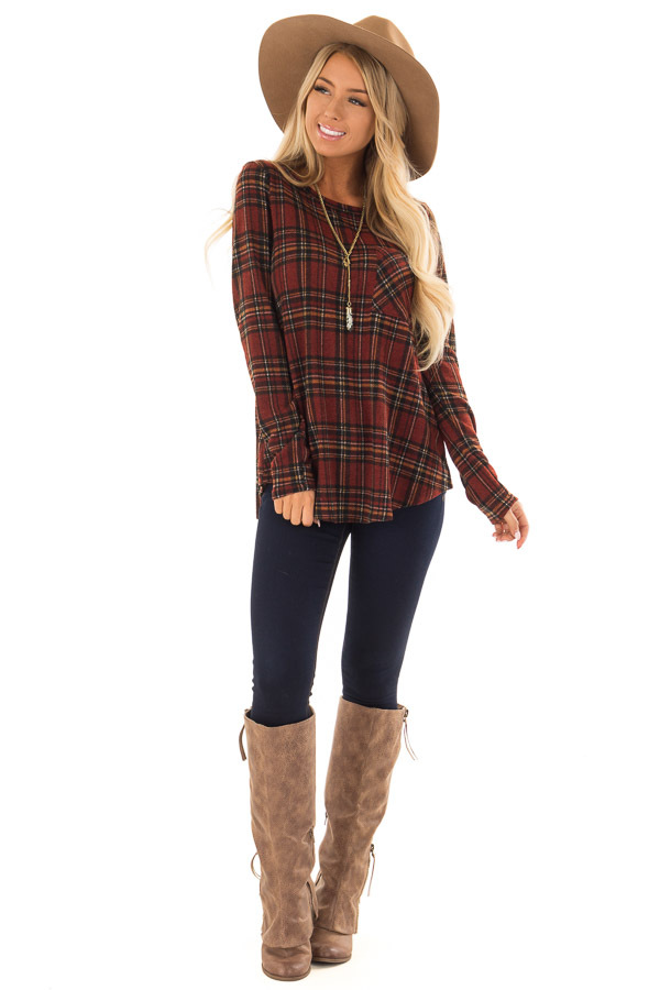 Burgundy and Marigold Plaid Top with Chest Pocket front full body