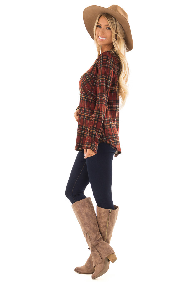 Burgundy and Marigold Plaid Top with Chest Pocket side full body