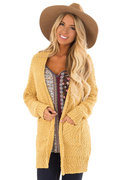 Mustard Comfy Long Sleeve Open Cardigan front close up