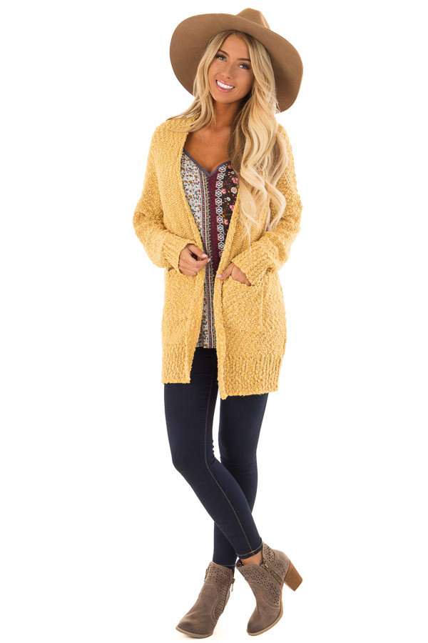 Mustard Comfy Long Sleeve Open Cardigan front full body