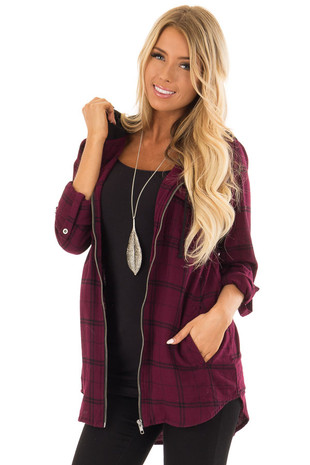 Mulberry and Black Checkered Flannel Zip Up Hoodie with Pockets front close up