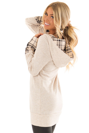 Oatmeal Comfy Hoodie with Plaid Accent Hood and Cuffs back side close up