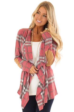 Wine Plaid Comfy Open Cardigan with Suede Elbow Patches front close up