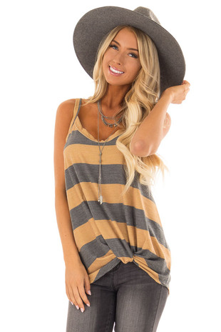 Mustard and Heather Grey Striped Tank with Front Knot front close up