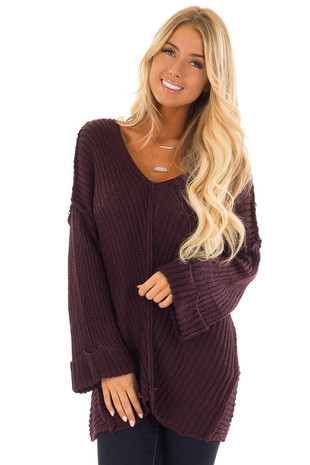 Plum Long Sleeve V Neck Sweater front close up