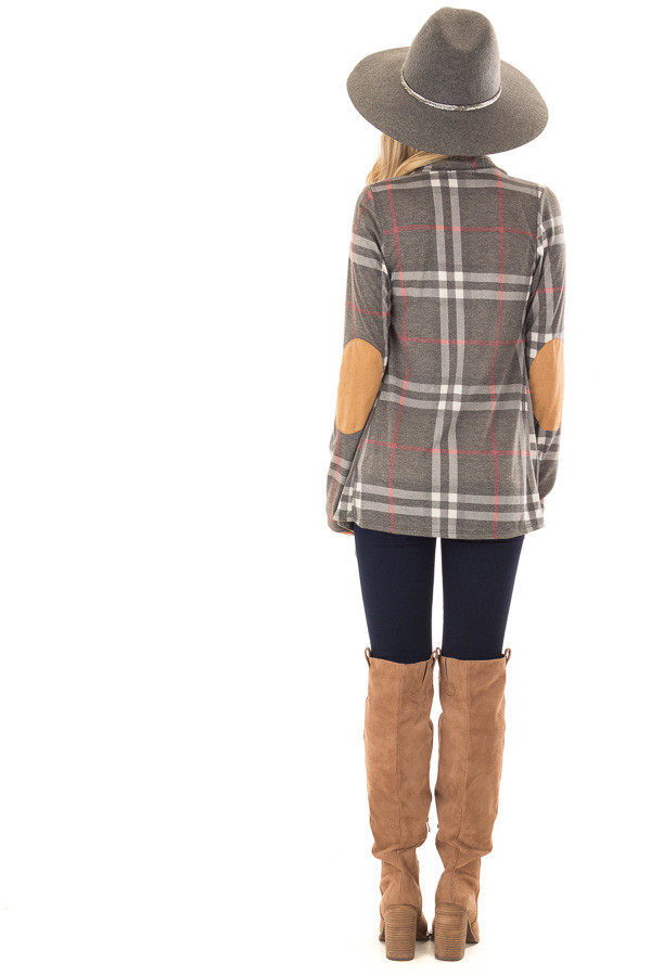 Charcoal Plaid Comfy Open Cardigan with Suede Elbow Patches back full body
