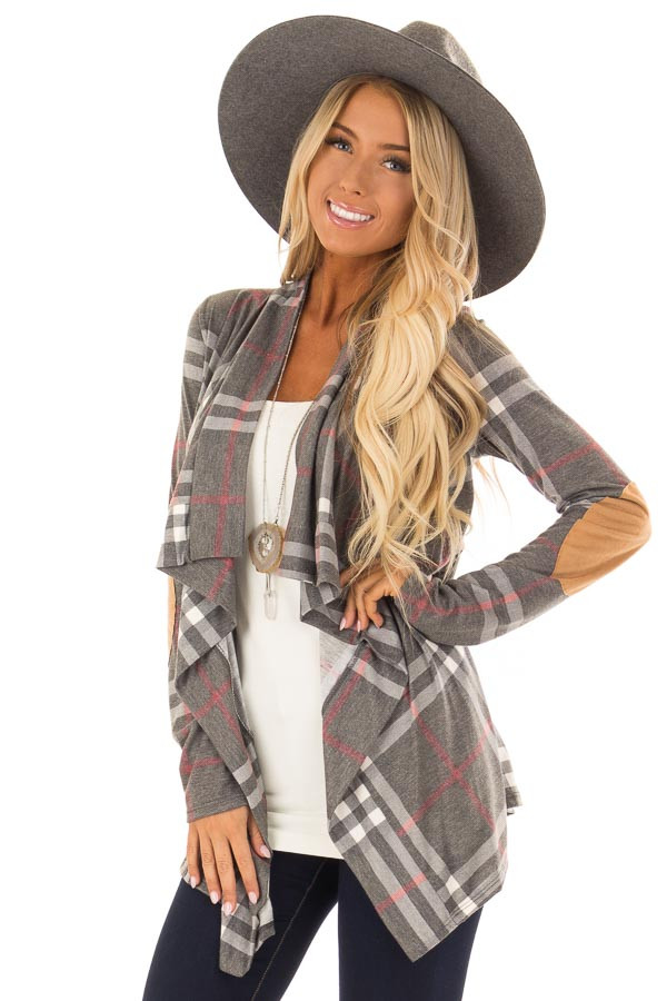 Charcoal Plaid Comfy Open Cardigan with Suede Elbow Patches front close up