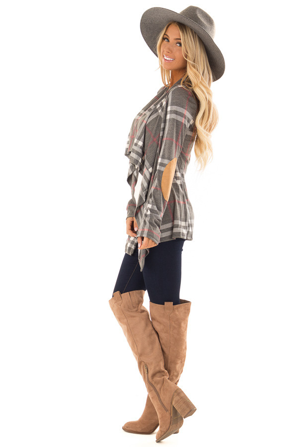 Charcoal Plaid Comfy Open Cardigan with Suede Elbow Patches side full body