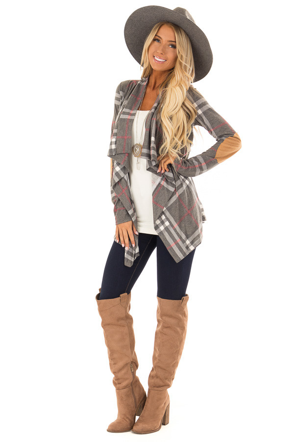 Charcoal Plaid Comfy Open Cardigan with Suede Elbow Patches front full body