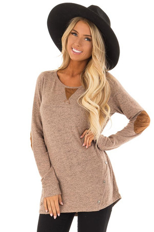 Mocha Two Tone Long Sleeve Top with Suede Elbow Patches front close up