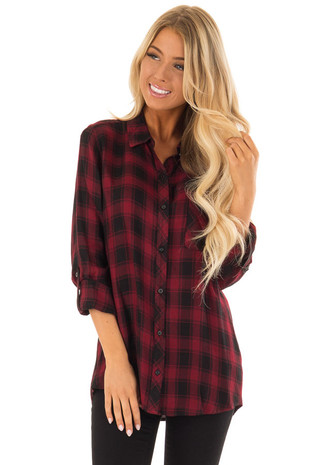 Wine and Black Plaid Button Up Top with Chest Pocket front close up