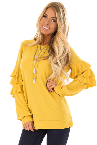 Mustard Ruffle Long Sleeve Top front close up